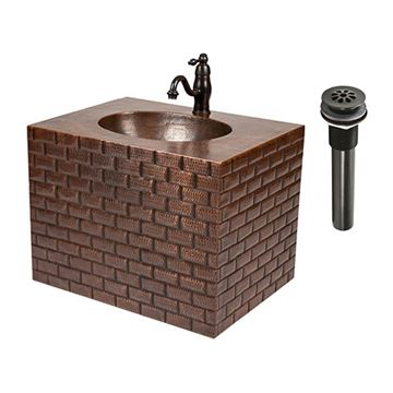 Premier Copper Tuscan Brick Hammered Copper Wall Mount Vanity & Faucet Package