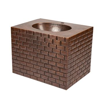 Premier Copper Tuscan Brick Hammered Copper Wall Mount Vanity