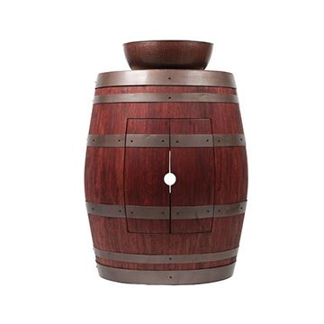 Premier Copper Wine Barrel Vanity & 15 Inch Round Vessel Sink Package