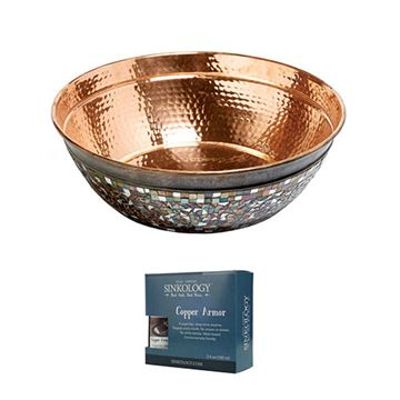 Sinkology Bardeen Copper & Mosaic Glass Vessel Sink Kit