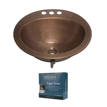 Sinkology Bell 19 Inch Drop In Copper Bathroom Sink Kit