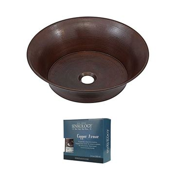 Sinkology Copernicus 16 Inch Copper Vessel Sink Kit
