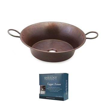 Sinkology Copernicus 21 Inch Copper Vessel Sink Kit