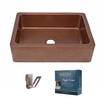 Sinkology Courbet 30 Inch Single Farmhouse Copper Kitchen Sink Kit