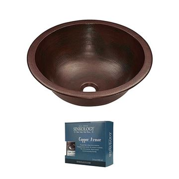 Sinkology Darwin 15 1/2 Inch Dual Mount Copper Bathroom Sink Kit