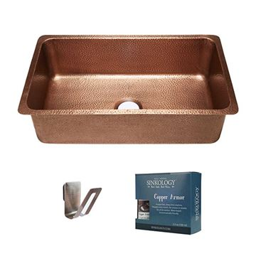 Sinkology David 31 1/4 Inch Single Undermount Copper Kitchen Sink Kit