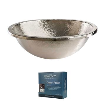 Sinkology Edison 18 1/2 Inch Dual Mount Oval Nickel Bathroom Sink Kit