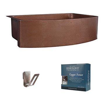 Sinkology Ernst 33 Inch Bow Farmhouse Single Copper Kitchen Sink Kit