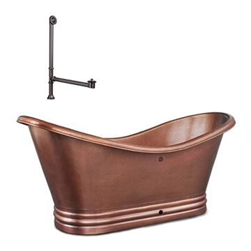 Sinkology Euclid Freestanding Copper Bath Tub With Overflow Kit