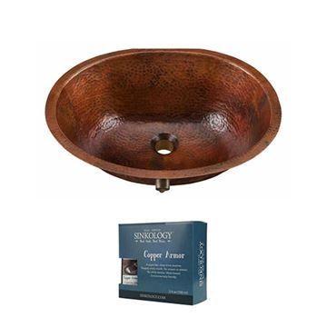 Sinkology Freud 19 1/4 Inch Undermount Copper Bathroom Sink Kit