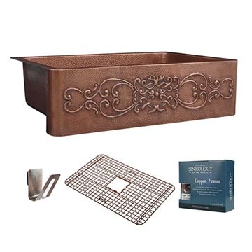 Sinkology Ganku 33 Inch Scroll Front Farmhouse Copper Kitchen Sink Kit