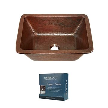 Sinkology Hawking 17 Inch Dual Mount Copper Bathroom Sink Kit