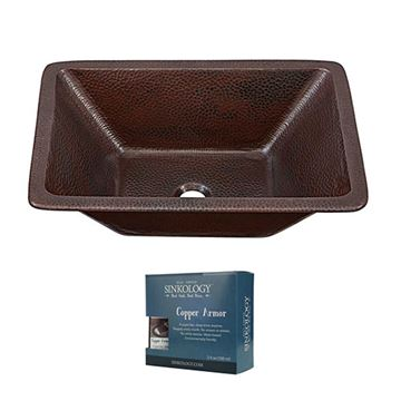 Sinkology Hawking 20 Inch Dual Mount Copper Bathroom Sink Kit