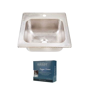 Sinkology Homer 15 Inch Drop In Nickel Bar Prep Sink Kit