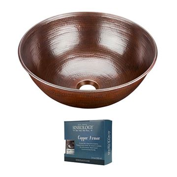 Sinkology Hubble 14 Inch Copper Vessel Sink Kit