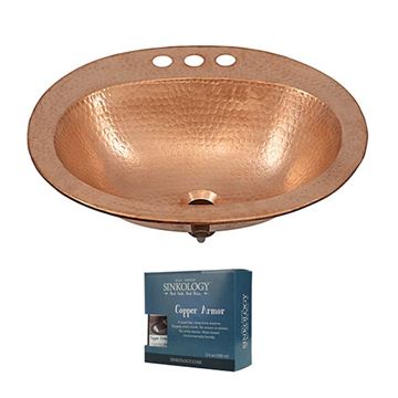 Sinkology Kelvin 20 Inch Drop In Unfinished Copper Bathroom Sink Kit