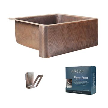 Sinkology Money 25 Inch Single Farmhouse Copper Kitchen Sink Kit