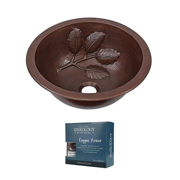 Sinkology Newton Leaf 14 Inch Dual Mount Copper Bathroom Sink Kit