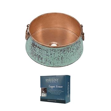 Sinkology Noble 16 Inch Verde & Unfinished Copper Vessel Sink Kit