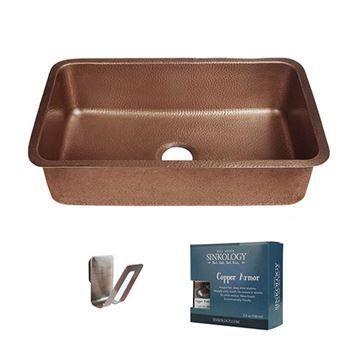 Sinkology Orwell 30 Inch Single Undermount Copper Kitchen Sink Kit