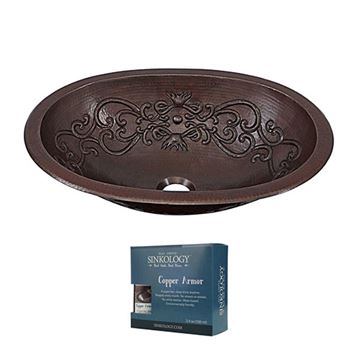 Sinkology Pauling Scroll 19 Inch Dual Mount Copper Bathroom Sink Kit