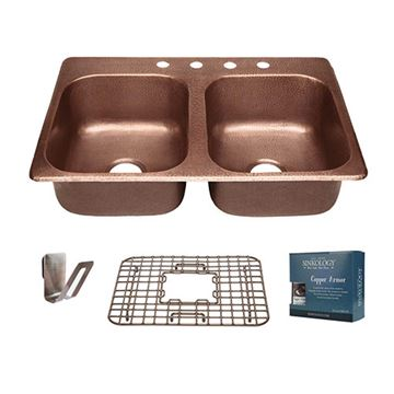 Sinkology Raphael 33 Inch Double Drop In Copper Kitchen Sink Kit