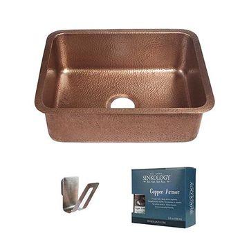 Sinkology Renoir 23 Inch Single Undermount Copper Kitchen Sink Kit