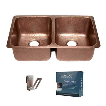 Sinkology Rivera Chef Series 32 1/4 Inch Undermount Copper Kitchen Sink Kit