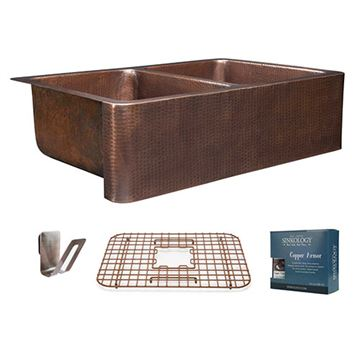Sinkology Rockwell 33 Inch Double Farmhouse Copper Kitchen Sink Kit