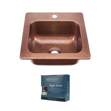 Sinkology Seurat 15 Inch Drop In Copper Bar Prep Sink Kit