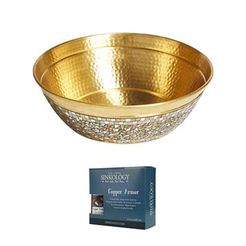 Sinkology Shockley 16 Inch Brass & Mosaic Glass Vessel Sink Kit