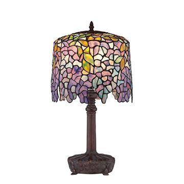 Quoizel Tf1139t Purple Wisteria Tiffany Glass Desk Lamp - Multicolor
