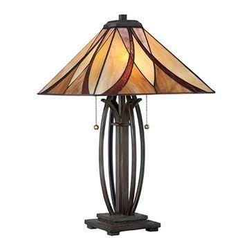 Quoizel TF1180TVA Asheville Tiffany Glass Table Lamp - Valiant Bronze