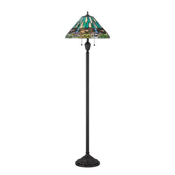 Quoizel Tf1508fvb King Tiffany Glass Floor Lamp - Vintage Bronze