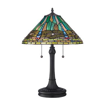 Quoizel Tf1508tvb King Tiffany Glass Table Lamp - Vintage Bronze
