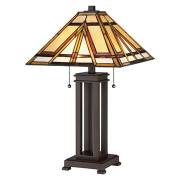 Quoizel Tf2095trs Gibbons Tiffany Glass Desk Lamp - Russet