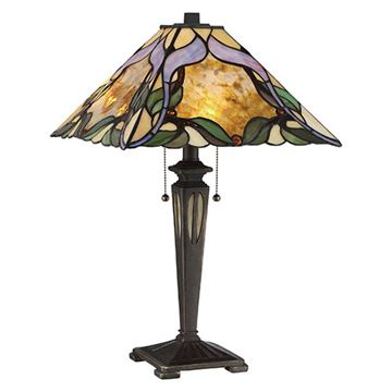 Quoizel TF2591TIB Persian Violet Tiffany Table Lamp - Imperial Bronze