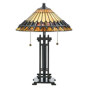 Quoizel Tf489t Chastain Tiffany Glass Desk Lamp - Multicolor