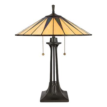 Quoizel Tf6668vb Gotham Tiffany Glass Table Lamp - Vintage Bronze