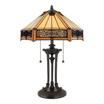 Quoizel Tf6669vb Indus Tiffany Glass Table Lamp - Vintage Bronze