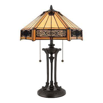 Quoizel TF6669VB Indus Tiffany Glass Table Lamp - Vintage Bronze