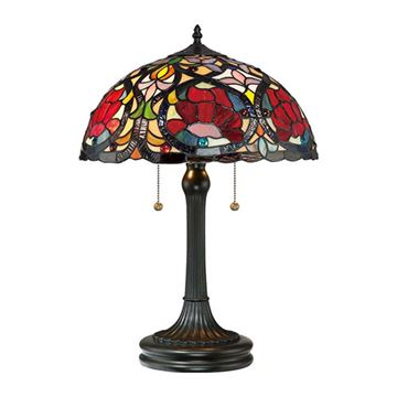 Quoizel Tf879t Larissa Tiffany Glass Table Lamp - Vintage Bronze