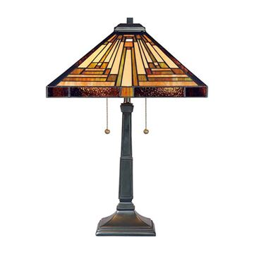 Quoizel Tf885t Stephen Tiffany Glass Table Lamp - Vintage Bronze