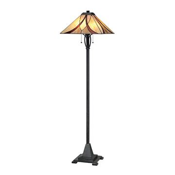 Quoizel Tfas9360va Asheville Tiffany Glass Floor Lamp - Valiant Bronze