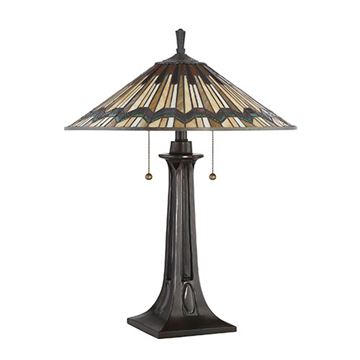Quoizel Tfat6325va Alcott Tiffany Glass Table Lamp - Valiant Bronze