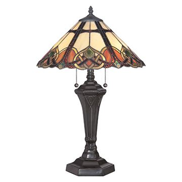 Quoizel Tfcb6325vb Cambridge Tiffany Glass Table Lamp - Vintage Bronze