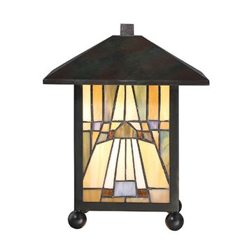 Quoizel Tfik6111va Inglenook Tiffany Glass Desk Lamp - Valiant Bronze