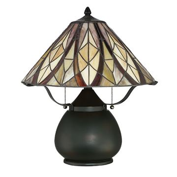 Quoizel Tfvy6118va Victory Tiffany Glass Desk Lamp - Valiant Bronze