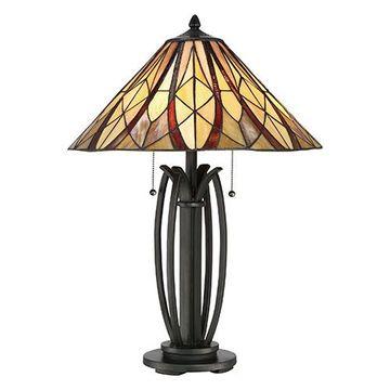 Quoizel TFVY6325VA Victory Tiffany Glass Table Lamp - Valiant Bronze