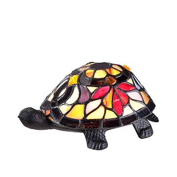 Quoizel Tfx1519t Flower Turtle Tiffany Accent Lamp - Multicolor